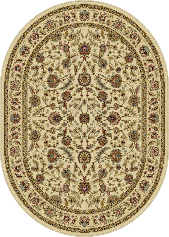 Ivory Oriental 6 Oval Area Rug Vine Multi Persian Carpet