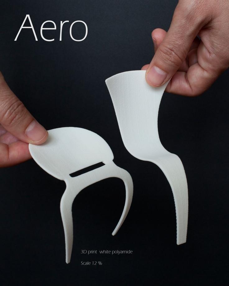 Aero Chair  3D print white polyamide  scale 12%