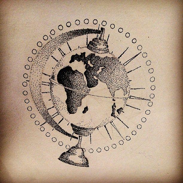 tattoo dotwork globe