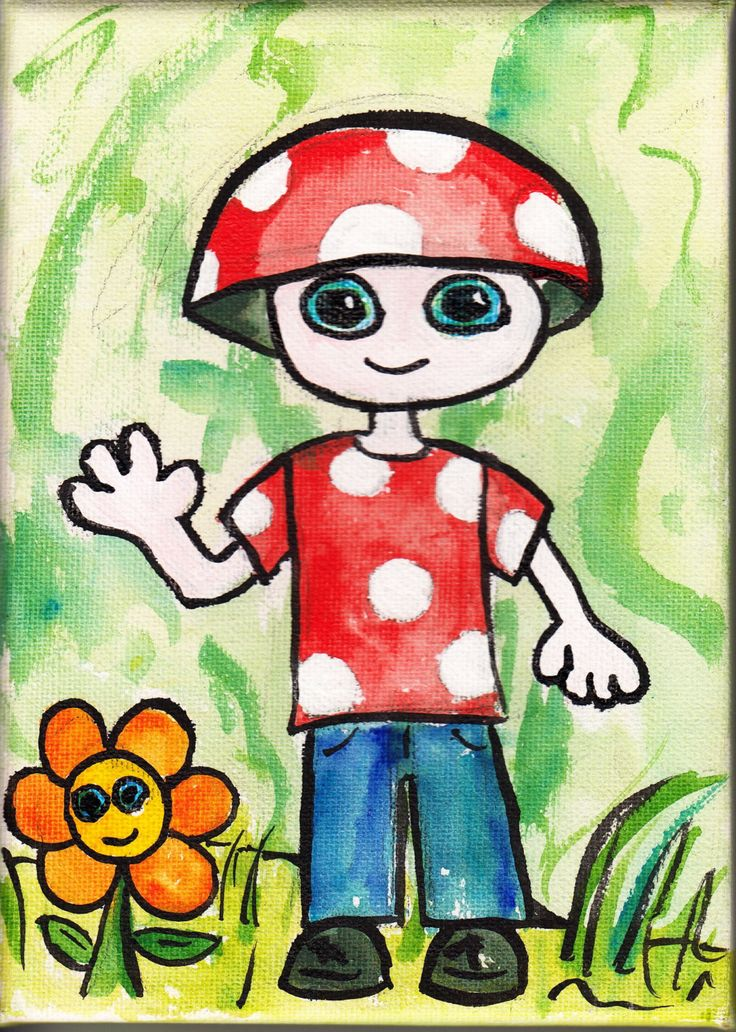 Small Toadstool Dweebling Painting Acrylic on canvas. by Dweeblings on Etsy