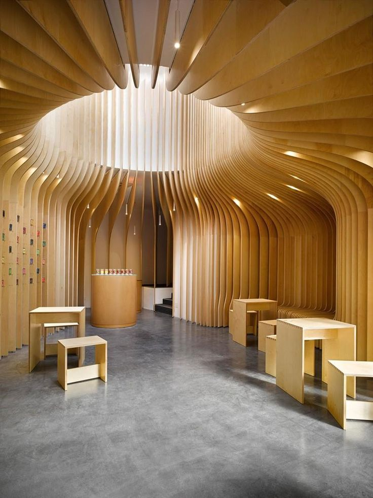 T lounge wooden tea selling shop interior by studio pha for Tianhua architecture design company