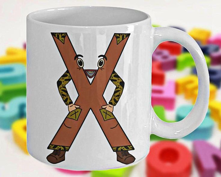 Alphabet Mug with Funny ABC Cartoon Characters as Children's Initials, Fun Gift for Kids, Letter X, 11oz, White Ceramic, Double-Sided Print by PortunaghDesign on Etsy