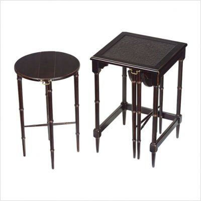 """Bailey Street 6003205 MELBOURNE NESTING TABLES by Bailey. $310.00. Width: 16"""". Height: 24"""". MDF and Asian Hardwood; Ebony Finish. Length: 16"""". Set of three, including two hanging nests. For traditional and transitional decors as side tables or TV trays.. Save 30% Off!"""