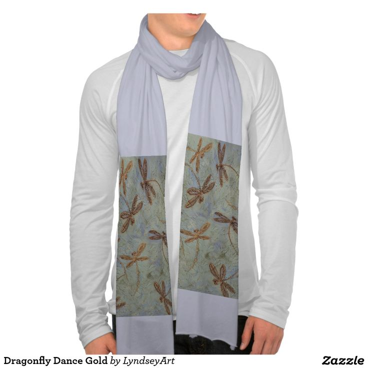Dragonfly Dance Gold Scarves, from my original dragonfly artwork. #dragonfly #scarf #shopping