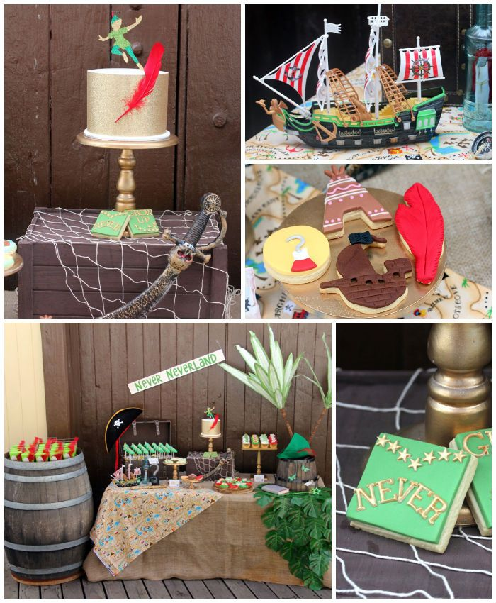 Peter Pan themed birthday party with Such Cute Ideas via Kara's Party Ideas! full of decorating ideas, dessert, cake, cupcakes, favors and m...