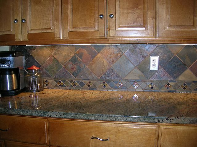 Exceptional Tumbled Copper Slate Kitchen Backsplash   35 By CeCeJewell, Like The  Smaller Strip, But