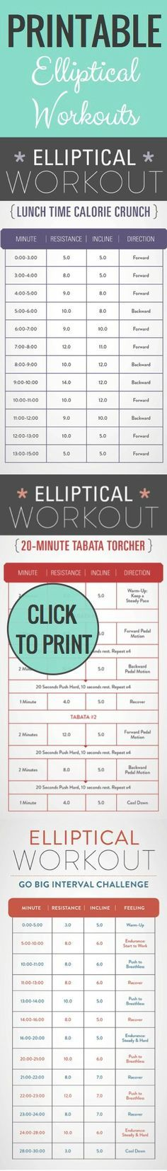 Beat those winter blues! Print these Elliptical #weightloss workouts and bring to the hotel, your basement or to the gym! Stay motivated and burn major calories!