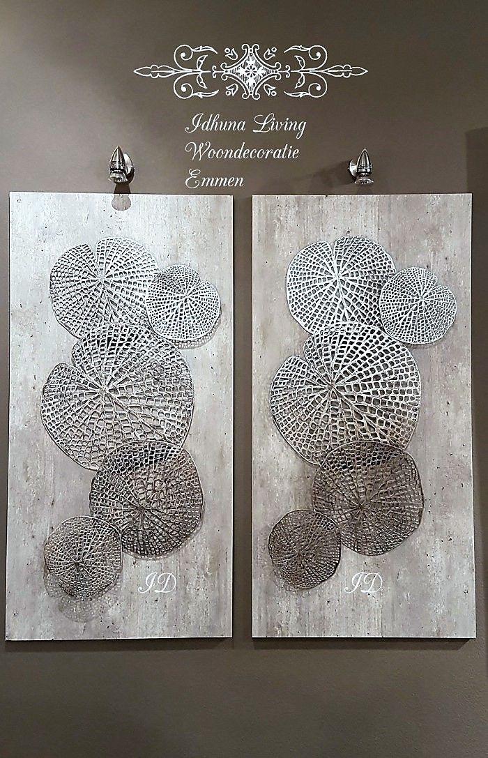 wanddecoratie metaal modern lotusblad 98 x 50 cm.   woondecoratie, Hause deko