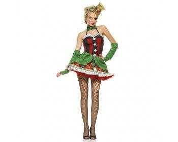 LEG AVENUE LADY LUCK WOMAN COSTUME Practica tu cara de póquer para cuando te pongas nuestro traje de Señorita de la Suerte! Vestido de poliéster con rayas negras y rojas con números impresos en la parte inferior de la falda. Tiene el escote decorado con la Escalera Real, y a modo de botones lleva 4 dados. La falda tiene dos capas verdes y un gran lazo. Una pata de conejo, un trébol de cuatro hojas y una herradura de caballo se unen a la cintura con cadenas de oro para llamar a la suerte.