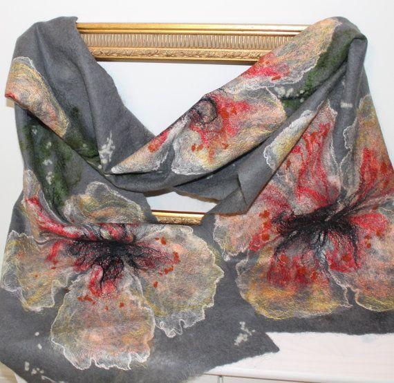 Handmade grey nuno felt scarf / wrap by LidiaFeltBoutique on Etsy