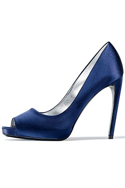 Roger Vivier ~ Blue Satin Open-Toe Pumps with Curved Heel