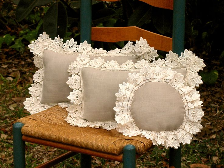Linen and Lace Pillows - Vintage Inspired - Taupe and Cream