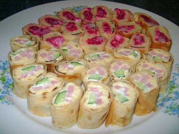 Роллы из блинов с сыром