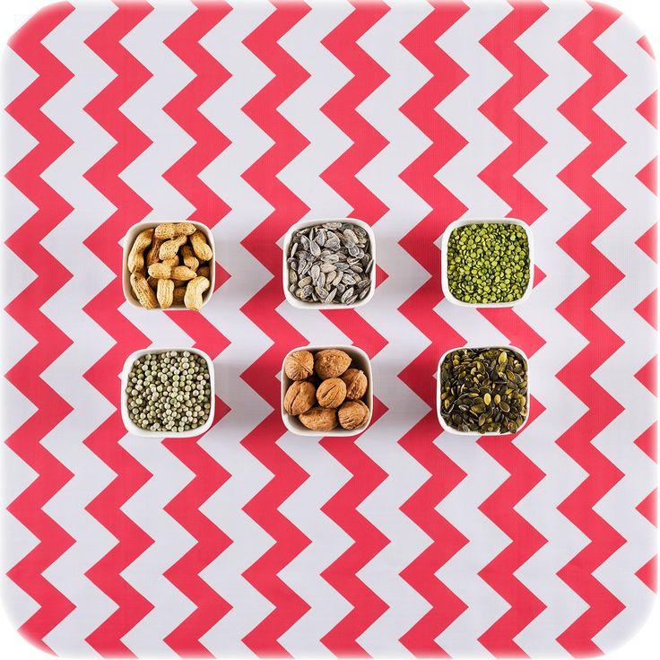 zeil 1,20x2m Zigzag koraal MixMamas, tafelzeil, Spaanse schoenen, bonfim gelukslint, luiertassen, oilcloth, wachstuch