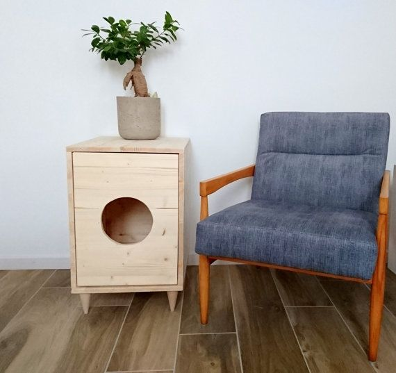 Cat Litter Box Cover, Pet Furniture, Cat House, Modern Litter Box Cabinet made of recycled spruce wood