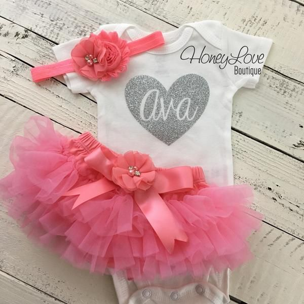 d732ad24c PERSONALIZED silver gold glitter, coral pink rhinestone pearl flower tutu  skirt bloomers newborn baby girl