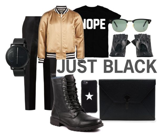 Just Black by illetilmote on Polyvore featuring Bottega Veneta, Marc Jacobs, Skagen, Ray-Ban, Dunhill, Givenchy, Black, men's fashion and menswear