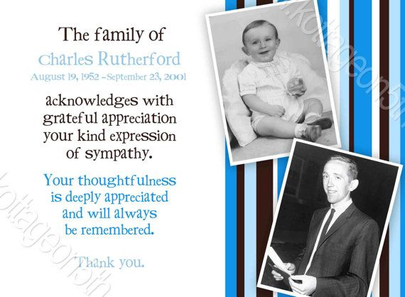 memorial or funeral - celebration of life - sympathy thank you cards