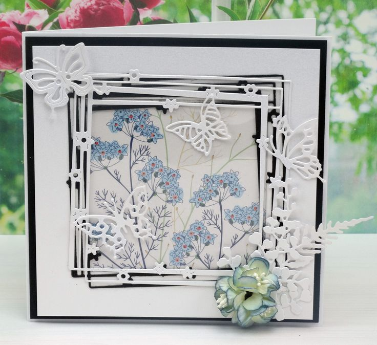 Tattered Lace Dies, Starlight Collection Using - Starlight Square (D594), Ferns (D590)