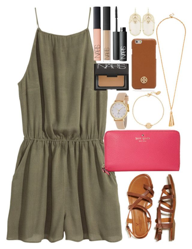 Romper by lauren-hailey on Polyvore featuring polyvore, fashion, style, H&M, American Eagle Outfitters, Kate Spade, Kendra Scott, Nashelle, Tory Burch and NARS Cosmetics