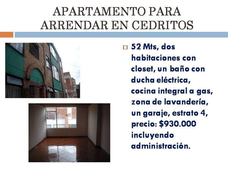 Apartamento para arrendar en Cedritos.