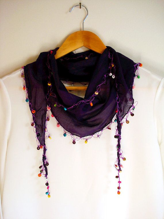 Stylish beaded scarf. lts usable as a scarf, headband, belt etc. Care:  Gentle cold hand wash seperately Do not bleach Iron Cool Do not tumble
