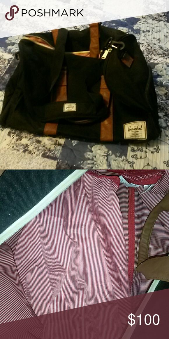 Herschel duffle bag Like new duffle bag. Outside pocket for shoes. Red candy stripped inside. Brown handles. No stains, rips or tears.  Zipper in working order. Herschel Supply Company Bags Travel Bags