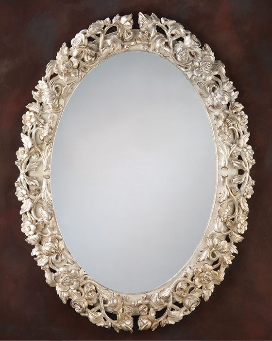 oval #mirror - oval hand carved wood mirror with floral design and antique silver leaf finish