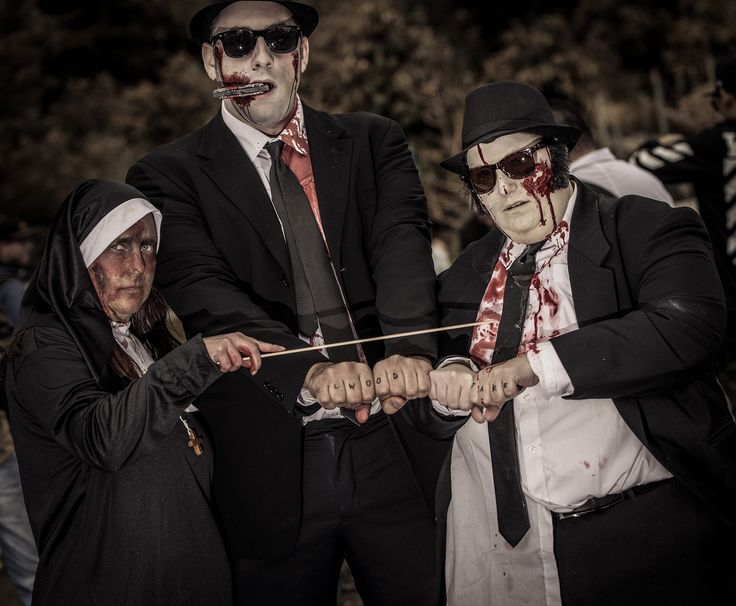 """Melb Zombie Shuffle 2016 - The Penguin with The Blues Brothers - """"We're on a mission from God."""" Photo by Heather Rose"""