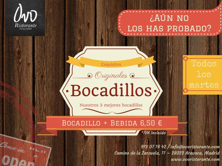 Oferta Bocata+Bebida 6,50€. TODOS los Martes #madrid #aravaca #italiano #restaurante #ristorante  #ovoristorante #promociones #ofertas #martes