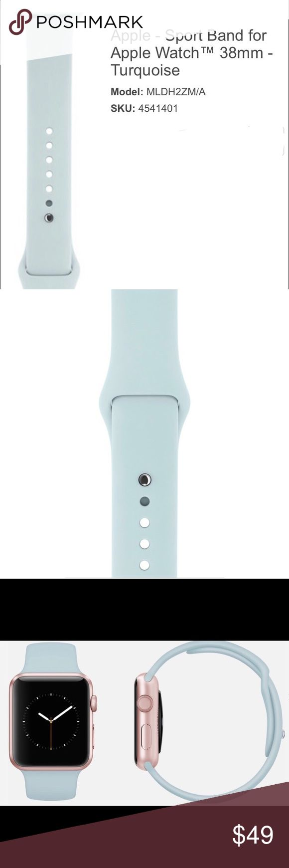 38mm Genuine Apple Watch Turquoise Sport Band Last picture in deck is for visual purposes only as the item for being sold through this listing is NOT an Apple Watch, but is ONLY an Apple Watch Sport Band.  Custom high-performance fluoroelastomer makes the Sport Band durable and strong, yet surprisingly soft.  Smooth, dense material drapes elegantly around your wrist.  Innovative pin-and-tuck closure ensures a clean fit.  Bands fit 130-200mm wrists.  Apple Watch™ is a trademark of Apple Inc…