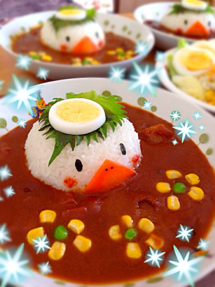 Ducky Vegetable and Rice Soup Serving Idea
