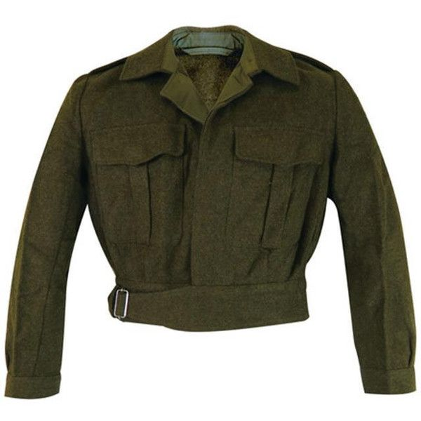 Vintage Dutch replica of British WW2 Dad's Army jacket coat uniform... ❤ liked on Polyvore featuring outerwear, jackets, vintage military jacket, military inspired jacket, military field jacket, cropped jacket and army field jacket