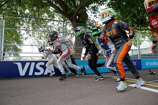 Visa Europe's innovation ambassador Usain Bolt challenges Formula E drivers to 100m sprint race at battersea park ahead of the Visa London ePrix on...