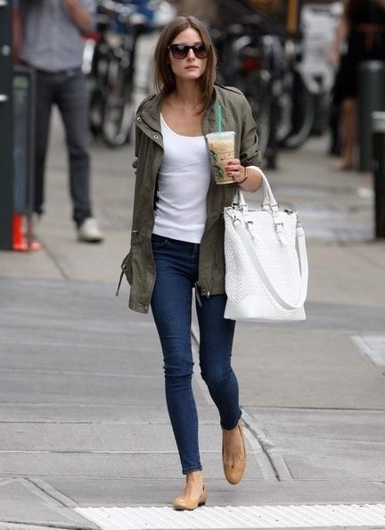Olivia Palermo Parka Look -easily achievable. ballet flats, skinny jeans, beloved tee shirt, white bag, parka, shades..