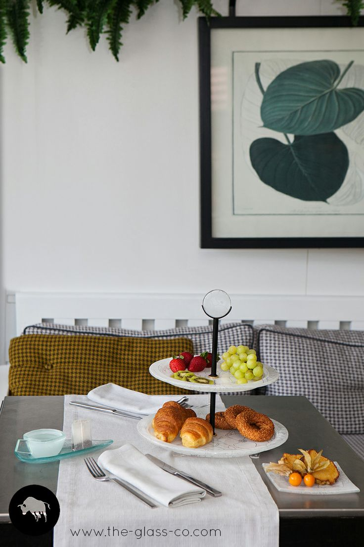 """""""Simplicity is the ultimate sophistication"""" Two tier holder for #breakfast presentation with metal handle designed by Glass Studio"""