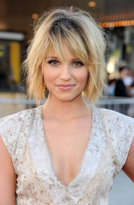 Tousled Layered Bob Hairstyle with Bangs for Summer - Dianna Agron Hairstyles