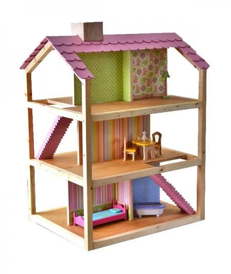 """I want to make this!  DIY Furniture Plan from Ana-White.com  Build a three story dream dollhouse perfect for 12"""" dolls with these free easy step by step do it yourself dollhouse plans! Inspired by the KidKraft So Chic dollhouse, this do it yourself version is made of soy based plywood and finished with non toxic linseed oil."""