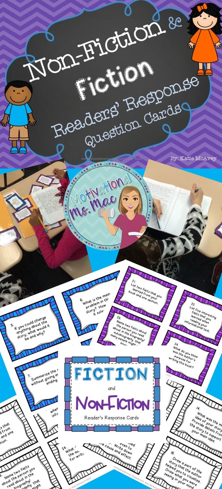 Reader's Response Cards for Fiction (blue cards) and Non-Fictional Texts (purple cards)