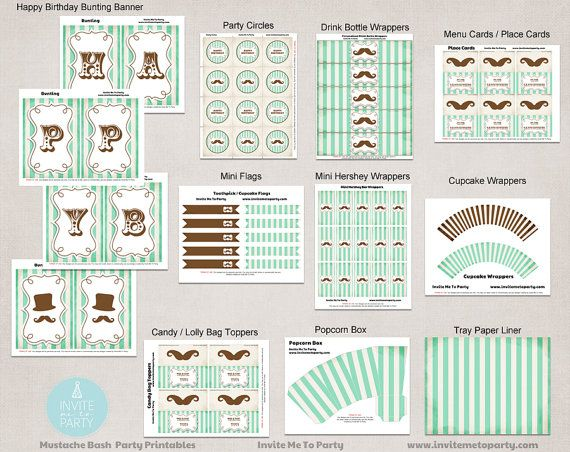 Mustache Bash Party Decoration Printables / by InviteMe2Party, $30.00