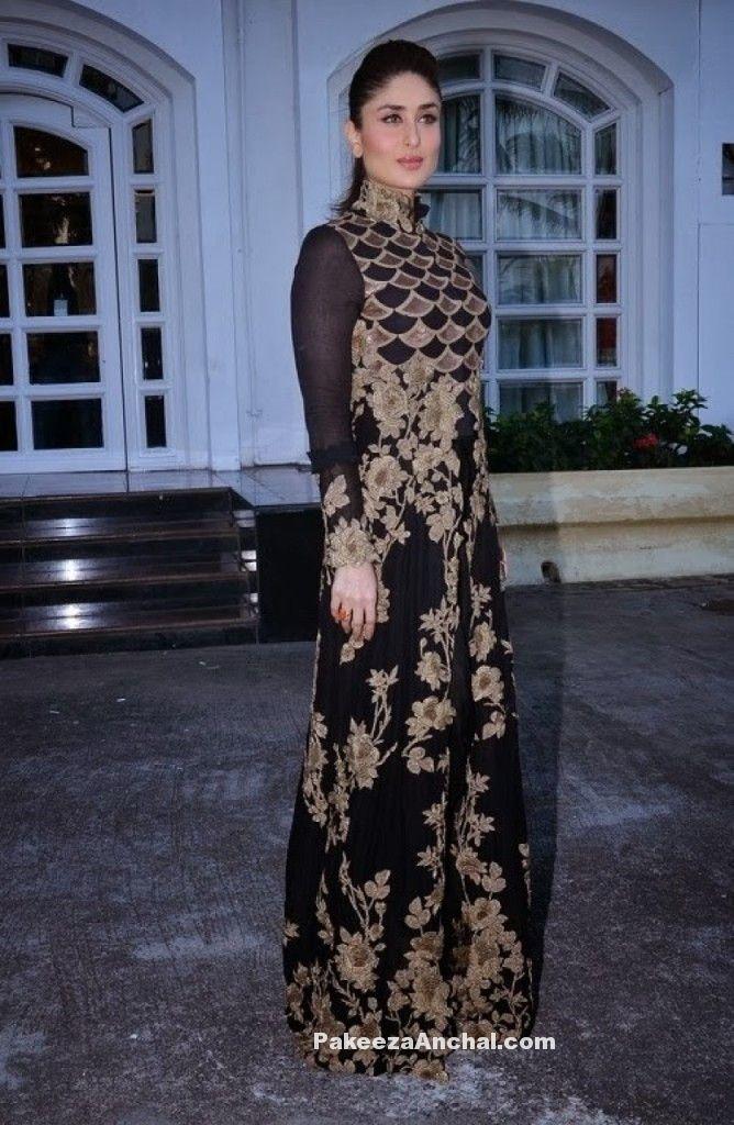Kareena Kapoor in Designer Gold and Black Long Frock Anarkali Churidar Dress-PakeezaAnchal.com