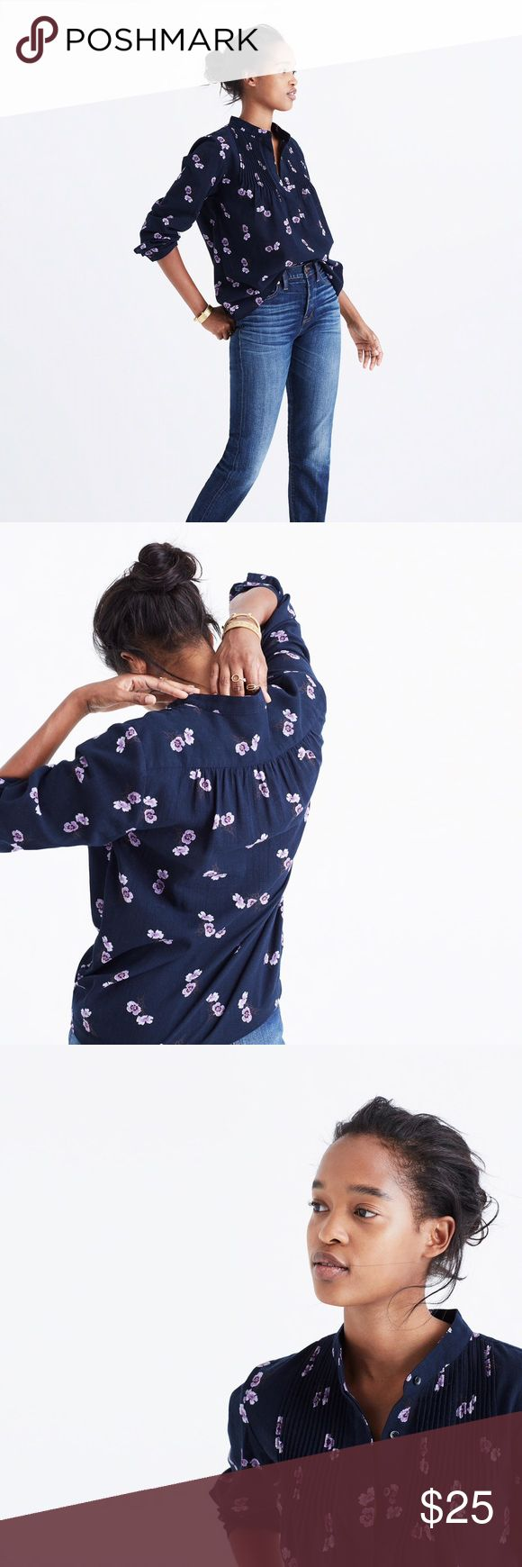 Madewell Pintuck Popover Shirt in Pansy Boquet In excellent condition. 100% cotton. This shirt has a loose fit, so size XXS can fit size 0 through size 4 in tops. Madewell Tops Blouses