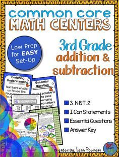 EASY set up to get your stations switched out quickly! These eight games are perfect for guided math groups and math workshop. Fun and engaging plus great practice and review of addition and subtraction third grade skills!