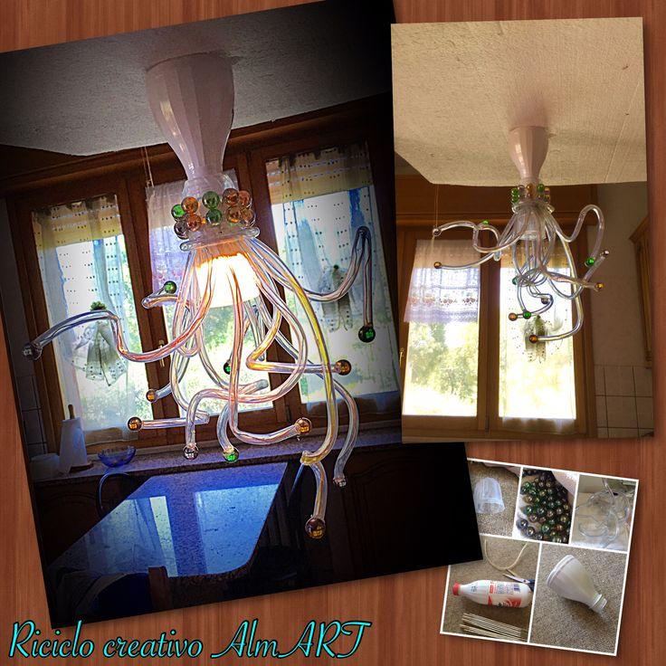 Lampadario fai da te, con materiali di recupero,#araña,#chandelier #lampadario #fattoamano #diy #riciclocreativo