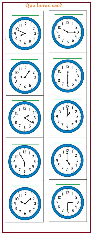 Dê a hora de cada relógio | Sala de Aula – Profª Rérida