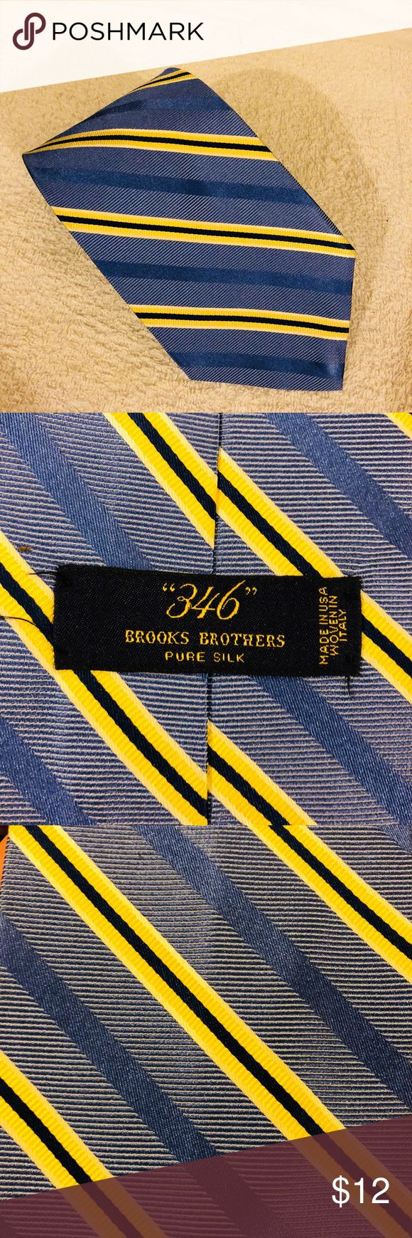 Brooks Brothers Blue w/ Yellow & Navy Stripe Tie Brooks Brothers Blue with Yellow, Navy Blue and White Stripe Silk Necktie! Like new! Please make reasonable offers and bundle! Ask questions! Brooks Brothers Accessories Ties
