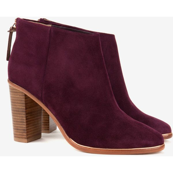 Ted Baker Leather Heeled Ankle Boots ($230) ❤ liked on Polyvore featuring shoes, boots, ankle booties, purple, high heel ankle boots, zip ankle boots, ankle boots, high heel bootie and purple booties