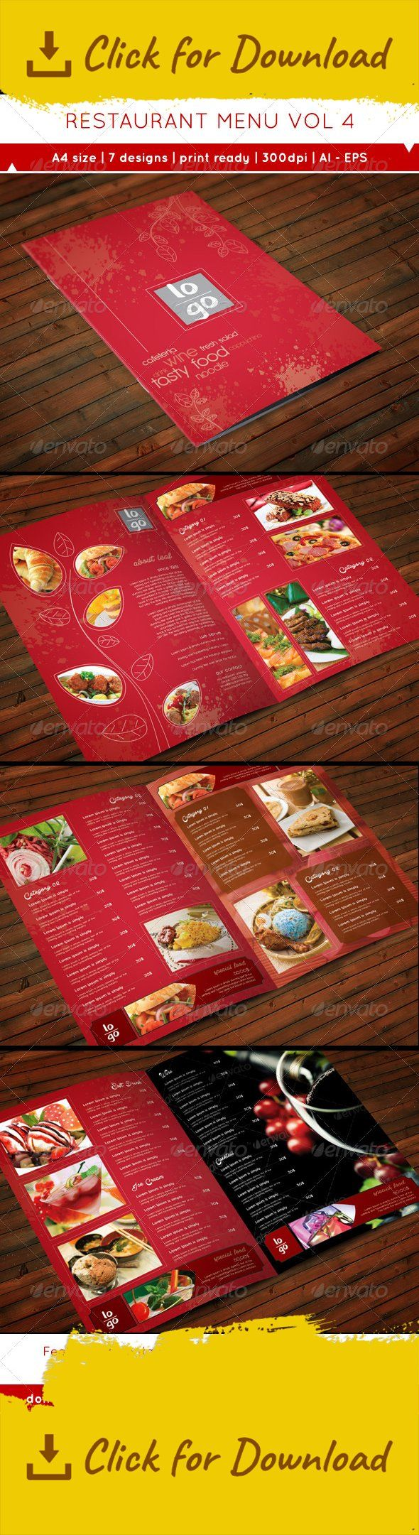 beef, business, cafeteria, chicken, clean, commerce, corporate, design, flyer, food, menu, modern, print, professional, promotion, restaurant, smoothie, template, wine An leaf concept restaurant menu. They come with A4 (21.7×29cm) size and 7 design templates. You can use it for an individual menu or merge it for one book. You can duplicate or combine it anyway you want it to be.  - 7 designs for your choice.  - The design have 4mm bleed, so it ready to print.  - AI and EPS (version CS5...