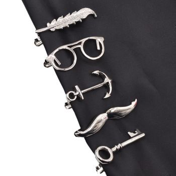 1 piece Feather Glasses Anchor Mustache Key Shape Metal Tie Clip for Men Glasses Commercial Necktie Clips Pin