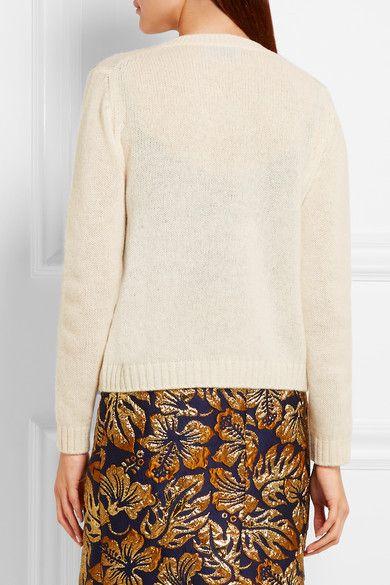 Prada - Bow-embellished Wool Cardigan - White - IT38